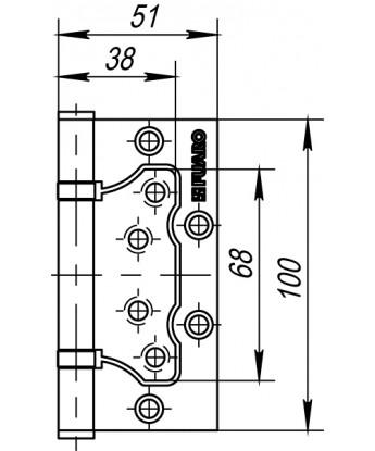 Петля универсальная Fuaro (Фуаро) без врезки 500-2BB 100x2,5 AB (бронза)