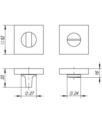 Ручка поворотная Punto (Пунто) BK6 QL GR-CP-23 графит-хром